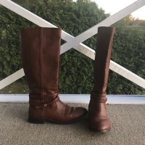 Brown Tall Boots Buckle Detail